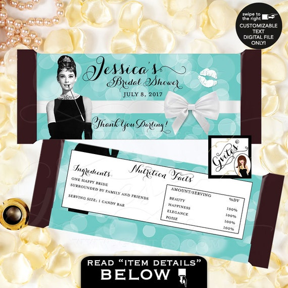 "Candy Bar Wrapper bridal shower wrappers, hershey chocolate wrapper, Audrey Hepburn Customizable PRINTABLE {2 Per/Sheet 5.25 x 5.75""}"