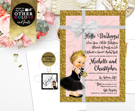 Baby Co Pink & Gold Baby Shower Invitations/Invites/Cards | Gold Glitter Diamonds Pearls | Printable JPG + PDF | 5x7""