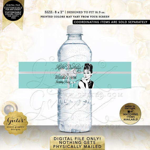 Water Bottle Labels/ Audrey Hepburn Personalized Party Supplies/ 30th/ 40th/ 50th Birthday/ Customizable Gifts Favors. Printable/ JPG/ PDF