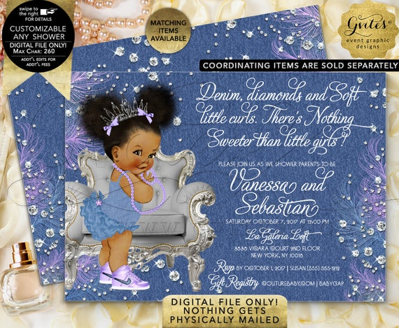 Denim Diamonds Afro Puffs Baby Lavender Silver Printable Invitation. Digital File Only! 7x5""