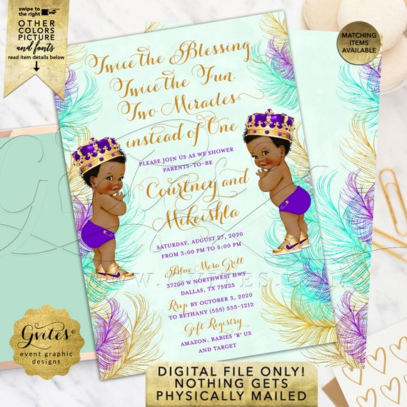 "Purple Mint Green Gold | Twins Baby Boy Shower Invitation African American Little Prince | 5x7"" Double Sided"
