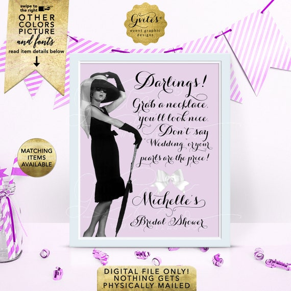 """Lilac Don't Say Wedding Bridal Shower Game Sign Personalized With Bride's Name 8x10"""" DIY, Digital File Only!"""