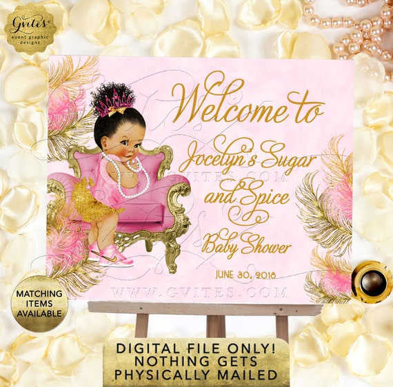 Welcome Baby Shower Sign - Sugar and Spice Afro Bun Med Brunette Princess Girl African American Poster {Design: TIACH-110} By Gvites