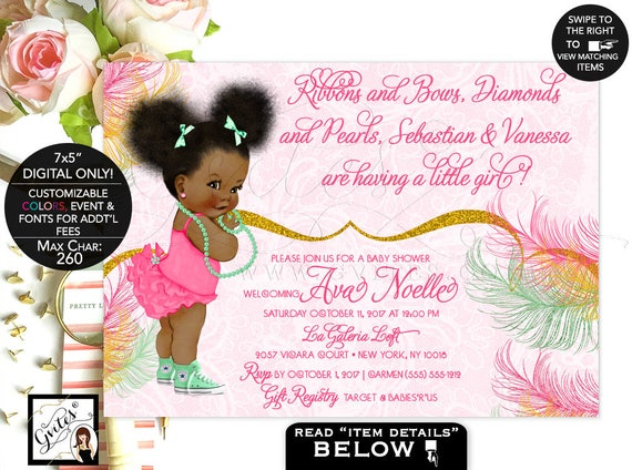 Mint and Gold Baby Shower invitation/ mint green/ yellow gold glitter