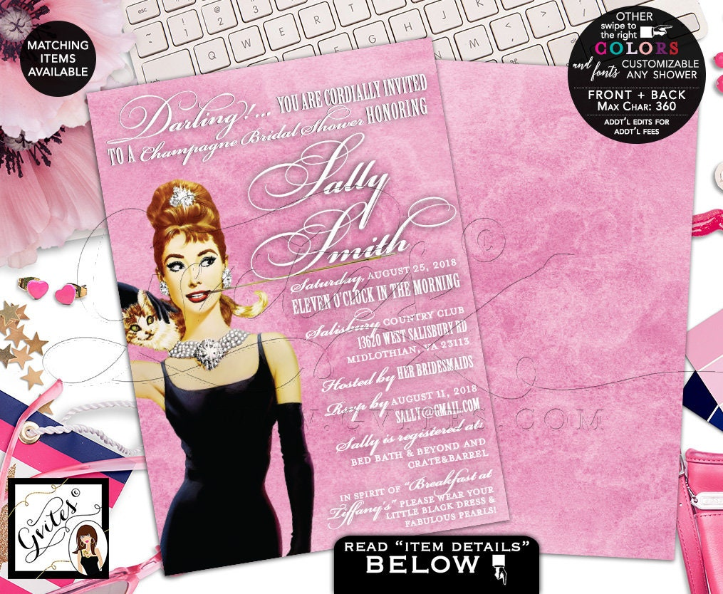bridal shower invitations pink champagne bridal breakfast at and co party theme lingerie audrey hepburn party 5x7 double sided gvites