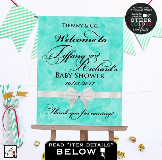 Welcome baby shower baby and co sign/ printable poster banner/ breakfast at blue customizable NAME/DATE ONLY!