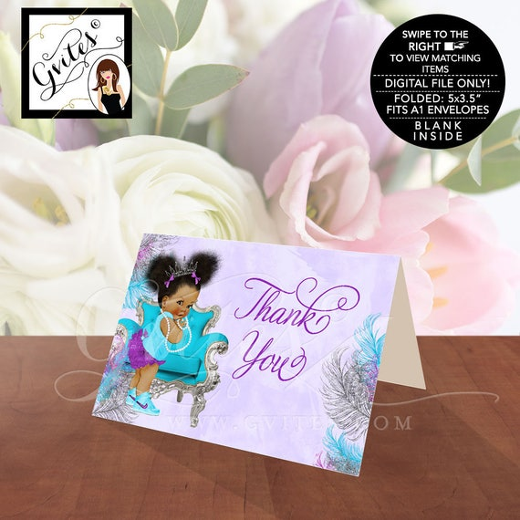 Custom African American Baby Shower Thank You Cards Purple Silver Turquoise