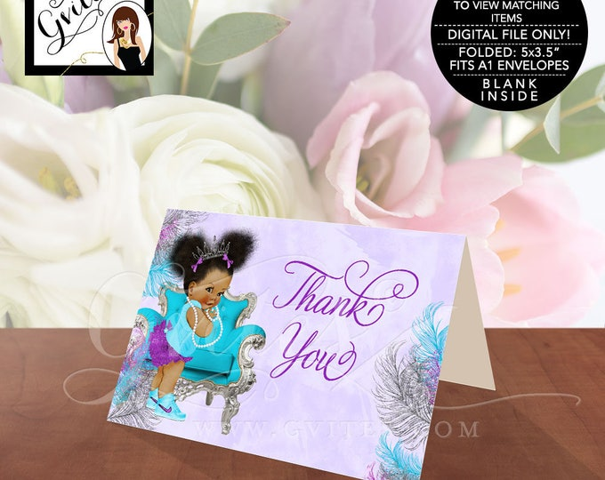 "Baby Shower Thank You Cards, Purple Silver Turquoise, princess african american girl, tiara afro puffs INSTANT DOWNLOAD 5x3.5""/2 Per/Sheet."