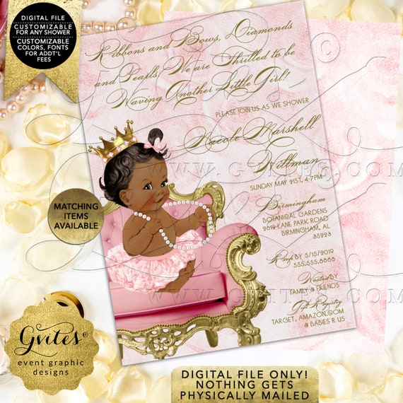 Blush Pink & Gold Princess Invitations Baby Shower/ African American Vintage Theme. Digital/ Printable/ JPG/ PDF 5x7""