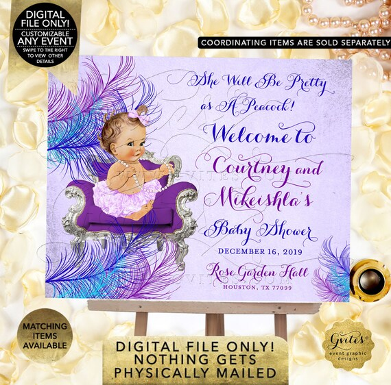 Welcome Sign Baby Shower Decorations/Poster/Peacock Blue Purple/Lilac/Lavender Silver | Printable Digital JPG + PDF | BSCNR-102
