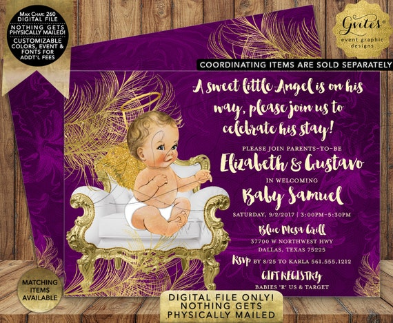 "Royal Purple Gold and White Angel Vintage Baby Boy. A Sweet Little boy is on his way. 7x5"" DIY/Printable/Digital."