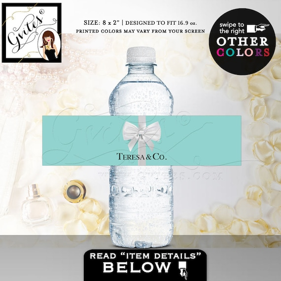 Bride & Co Water Bottle Labels/ Baby and Co Labels Birthday Wedding Party favors Turquoise Blue White {REALISTIC SATIN RIBBON}