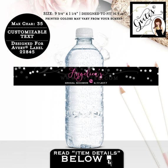 "Bridal Shower Water Bottle Labels, Pink and Black Glitter and Silver Stickers bridesmaid, glitz & glam, {9.75 x 1.25""/5 Per Sheet}"