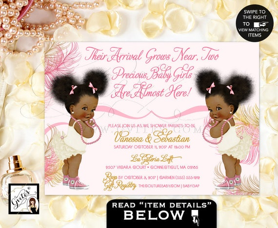Pink and Gold African American baby twins girl baby shower invitations/ blush ivory/ pearls. Afro Puffs. Gvites.
