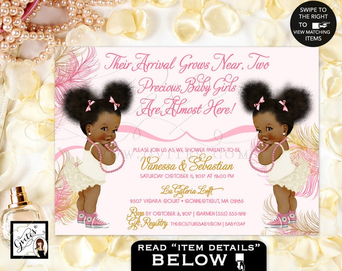 Pink and Gold Twins African American baby girl baby shower invitations, blush ivory, pearls. Afro Puffs. Gvites.