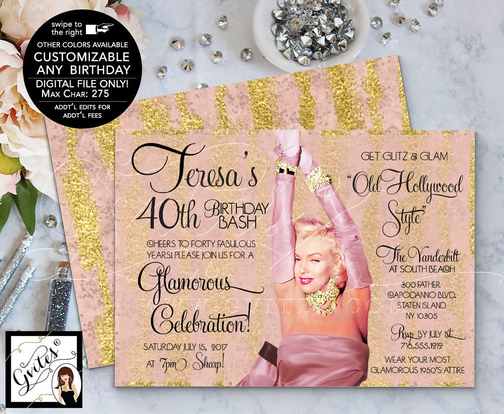 Marilyn Monroe Style 40th Birthday Invitations Blush Pink Rose Gold Hollywood Invites 1950s Printable 7x5 Double Sided
