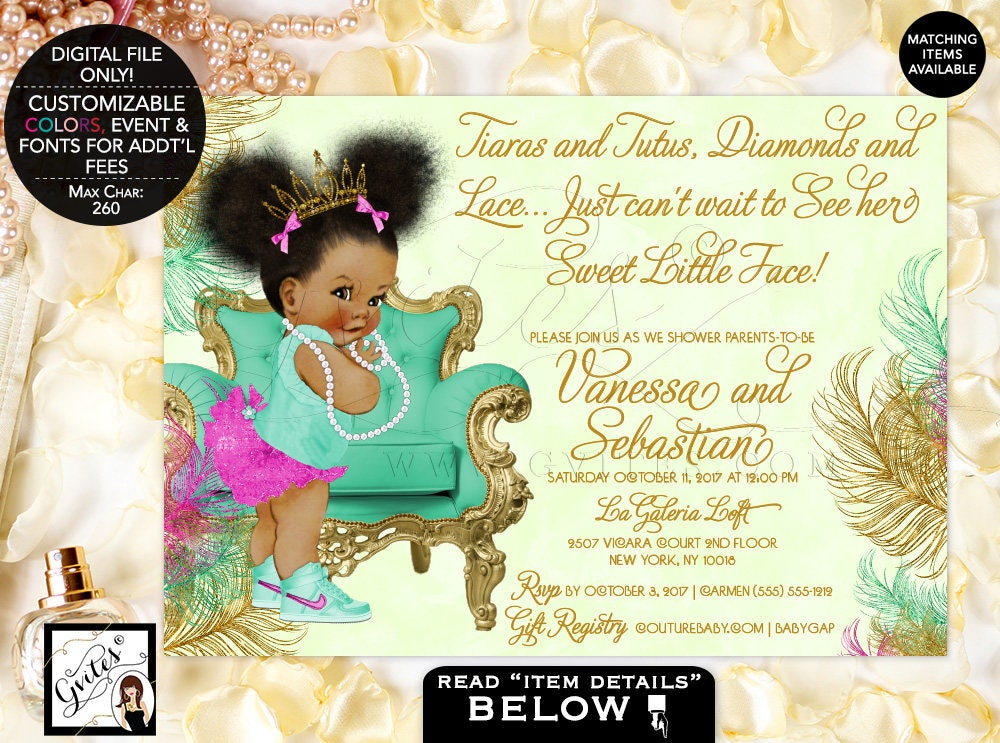 Pink Mint And Gold Baby Shower Printable Invitation Pink Mint Green