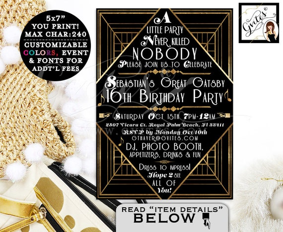 The Great Gatsby Teen Birthday Invitation | Black & Gold/Art Deco Design Invites/Customizable For Any Birthday 5x7.