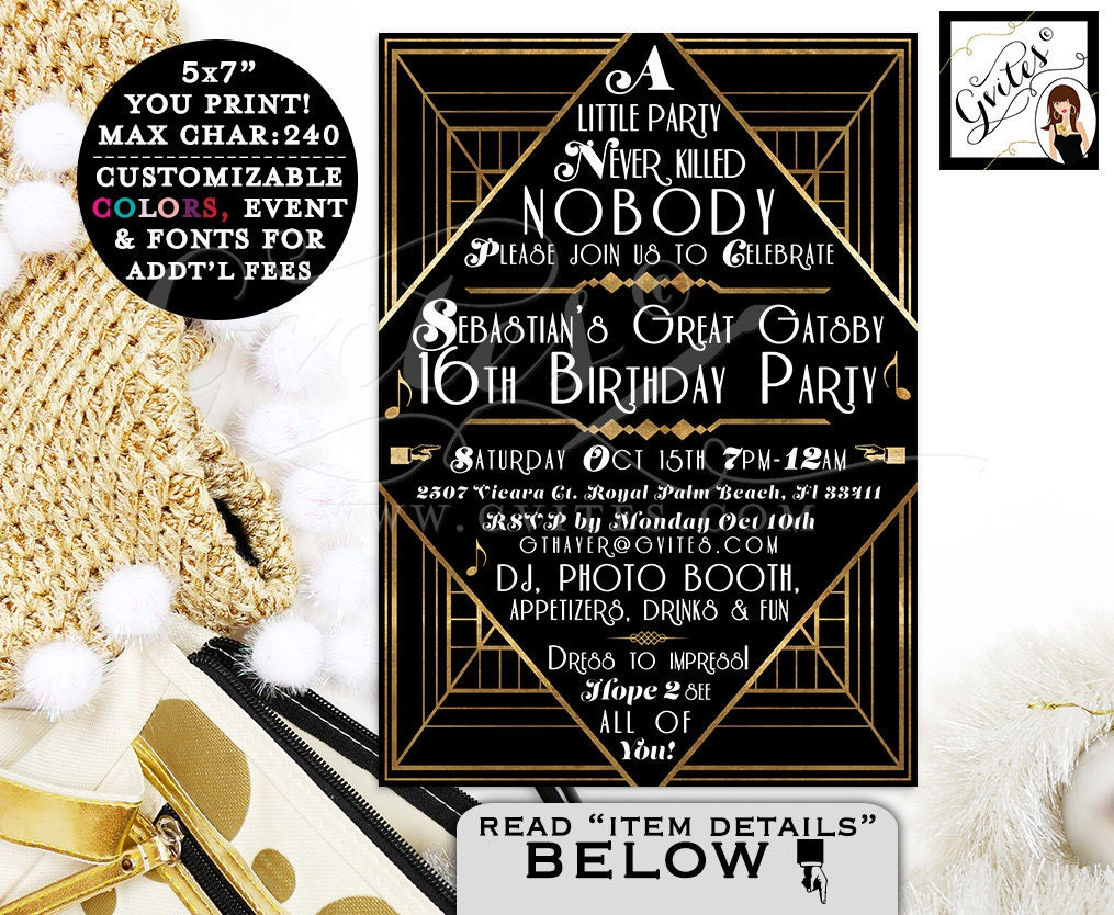 Great Gatsby invitations, Gatsby 1920s theme invitation, 16th ...