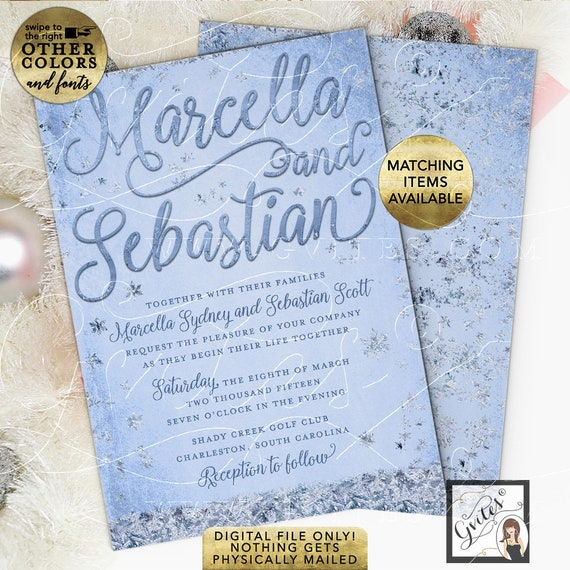 Winter Wedding Invitations   Ice Blue Silver Snowflake Printable Bridal Cards