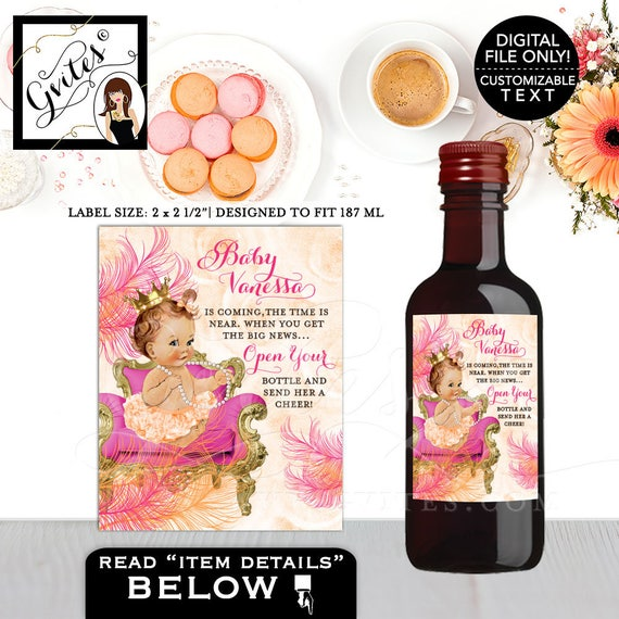 """The time is near mini wine baby shower labels {2x2.5"""" 12 Per/Sheet}"""
