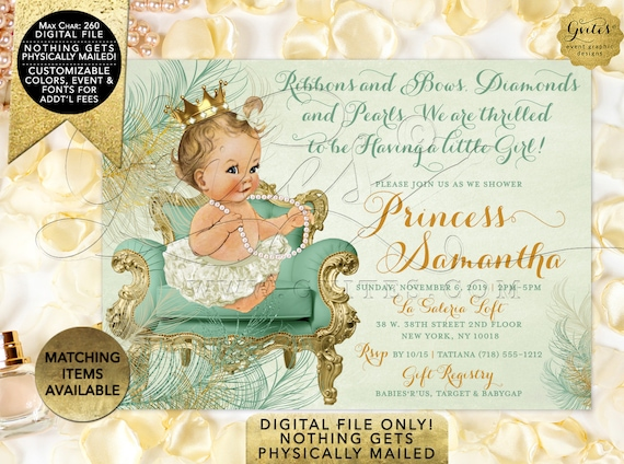 "Mint Ivory & Gold Baby Shower Invitation | Princess Vintage Girl Diamonds Pearls diamond pearls themed | Printable JPG + PDF 7x5"""