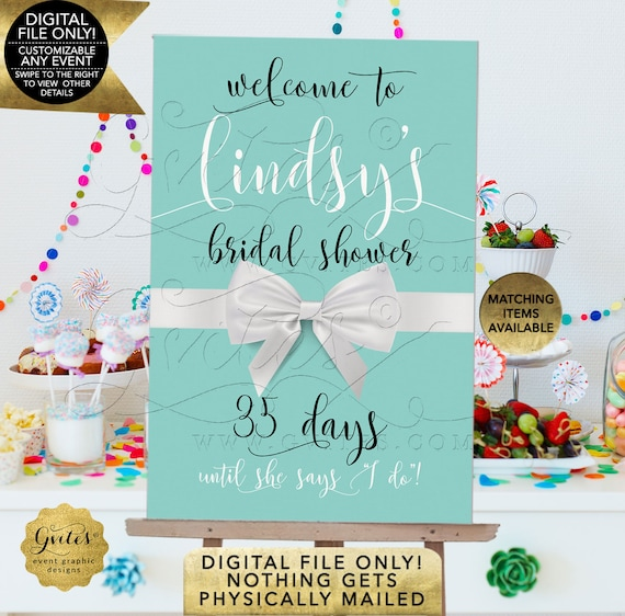 Days Until Sign, Welcome Bridal Shower Printable | by Gvites