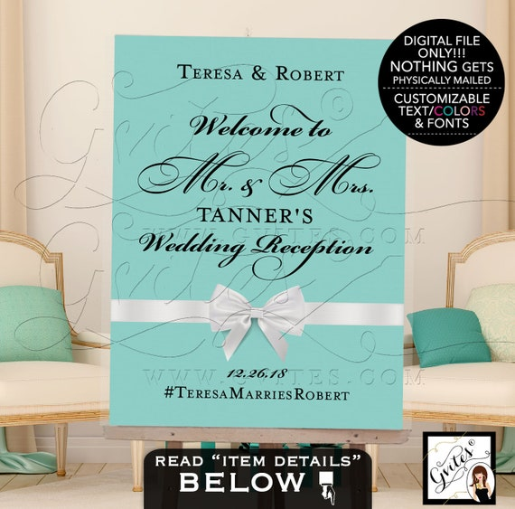 Welcome Wedding Reception Sign | Breakfast at themed blue party | Printable poster entrance decoration | JPG + PDF