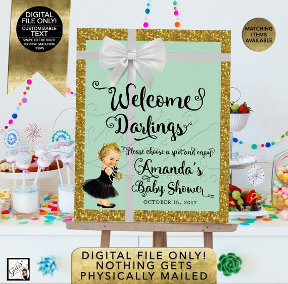 Breakfast at Welcome Baby shower signs/ poster mint green and gold/ pink and gold/ baby and co. DIGITAL FILE ONLY!
