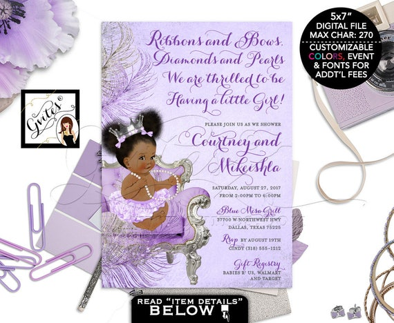 Purple & Silver Baby Shower Invitation / Princess African American Vintage Baby Girl Afro puffs Purple Diaper Silver Crown Pearl Necklace