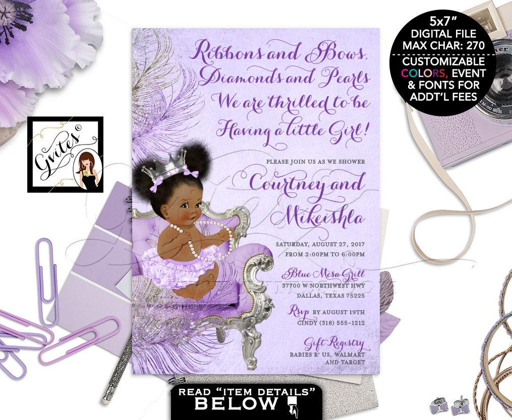 Purple and silver baby shower invitation princess african american purple and silver baby shower invitation princess african american baby girl afro puffs purple invites silver crown digital 5x7 gvites filmwisefo