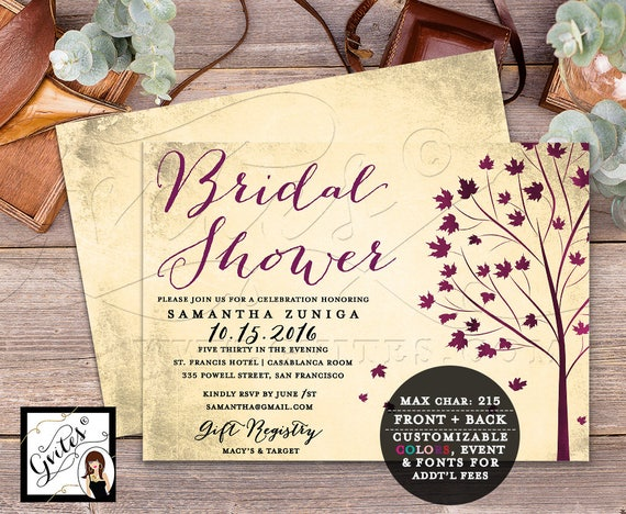 Seasonal Fall Bridal Shower Invitation Cards / Autumn Fall Leaves Vintage Trees / Printable DIY Instant Download Gvites