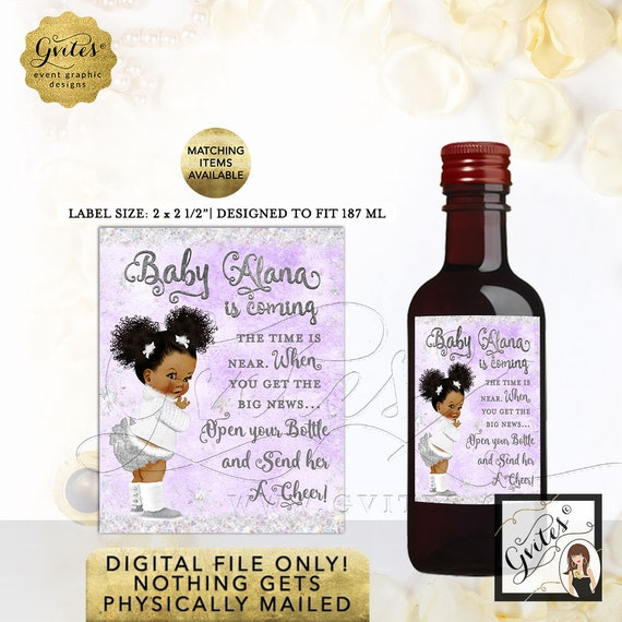 Mini Wine Labels Winter Wonderland Baby Shower Lavender Silver. Baby its cold outside Party Stickers, African American Curly. 8/Per Sheet