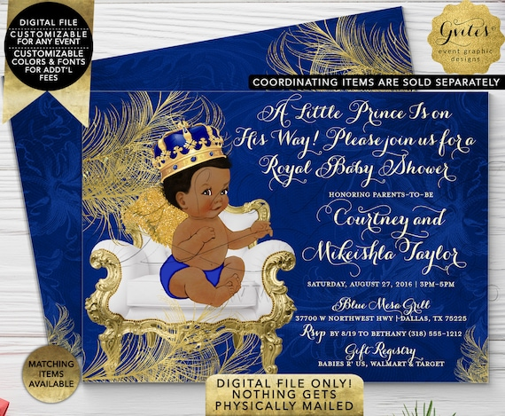 Royal Blue & Gold Prince Baby Shower Printable Invitation. Little Angel is on his way...African American Boy. 7x5 Double Sided Digital Only!