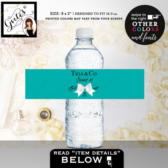 "Sweet 16 & Co water bottle labels/ party decorations/ stickers/ decal/ custom printables/ breakfast at/ Digital. 8x2"" 5 Per/ Sheet"