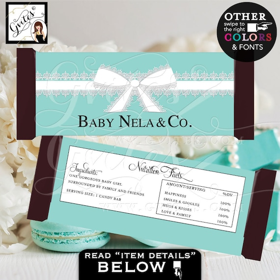 Baby & Co Candy Bar Wrapper Blue baby shower White ribbon party favor