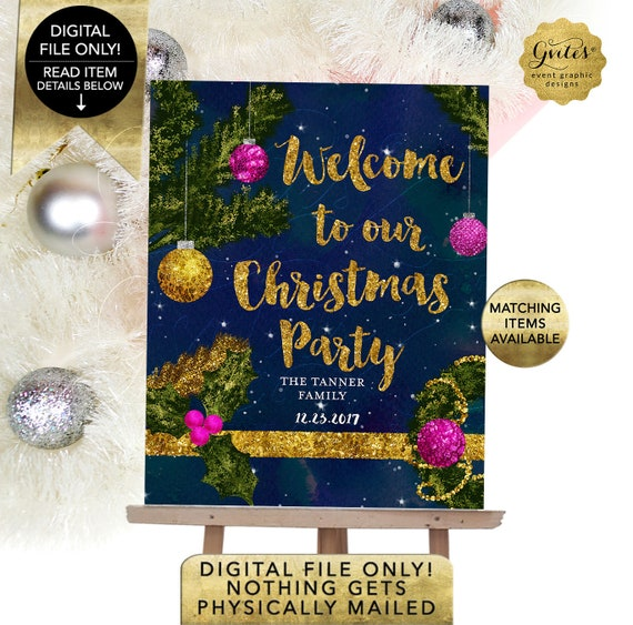 Christmas Welcome Sign / Holiday Party Printable Signage / Welcome to our Family Christmas Party / Christmas Tree Gold Ornaments