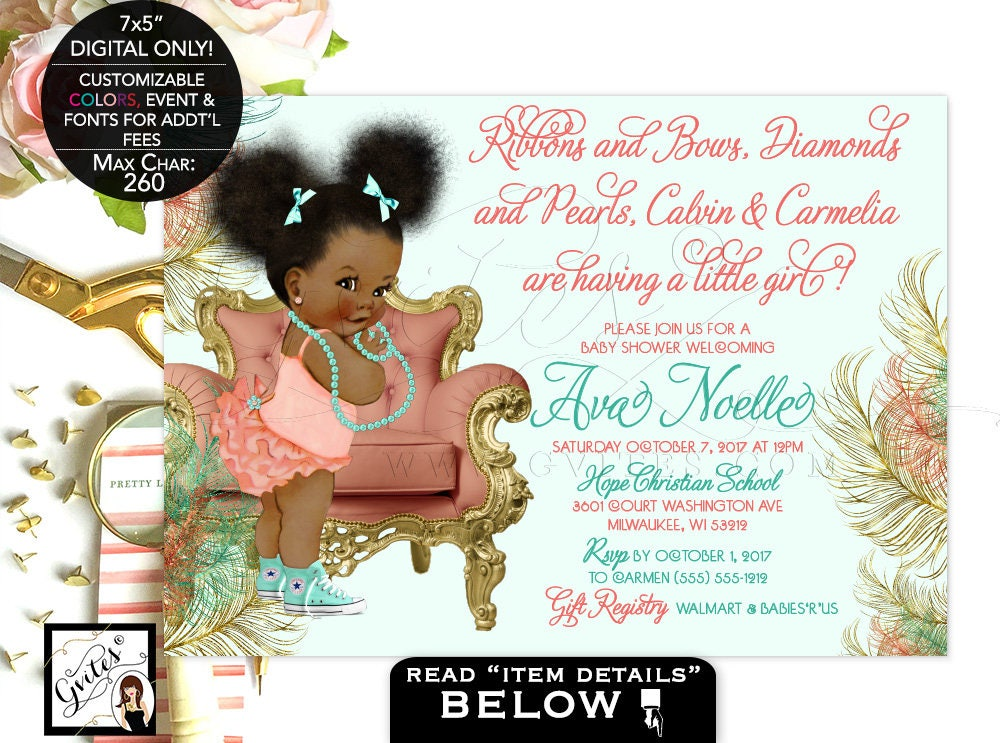Coral And Mint Baby Shower Invitation Afro Puffs Green Gold African American Ruffle Diamonds Pearls 7x5 Gvites