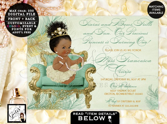 Mint and Gold First Birthday Invitation | Printable Digital File Only | Afro Bun Princess Ethnic | JPG + PDF Format | By Gvites