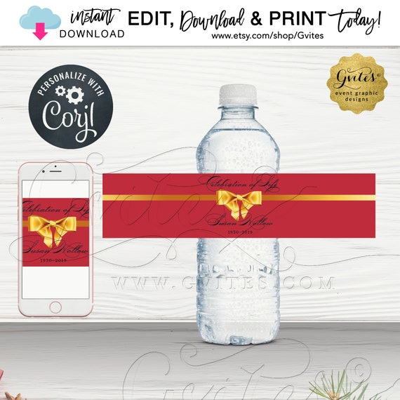Water Bottle Labels / Celebration of Life Memorial / In loving Memory Red Gold / PRINTABLE Digital File. INSTANT DOWNLOAD