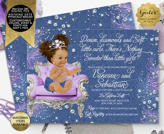 "Denim and Diamonds Lavender Baby Shower Invitations/ Afro Puffs Curly Vintage African American Baby Girl. 7x5"" Double Sided/ Printable"
