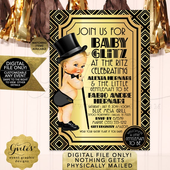 Great Gatsby Baby Boy Shower Invitations | Black & Gold Vintage 1920s Themed Invites | Printable 5x7 Gvites