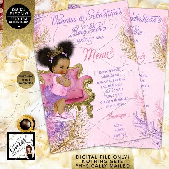 "Menu Cards Pink Purple Gold Baby Shower, Princess Printable, Afro Puffs Menus, Vintage Baby Girl, Gold Crown, DIY, Digital, 4x6"" or 5x7"""