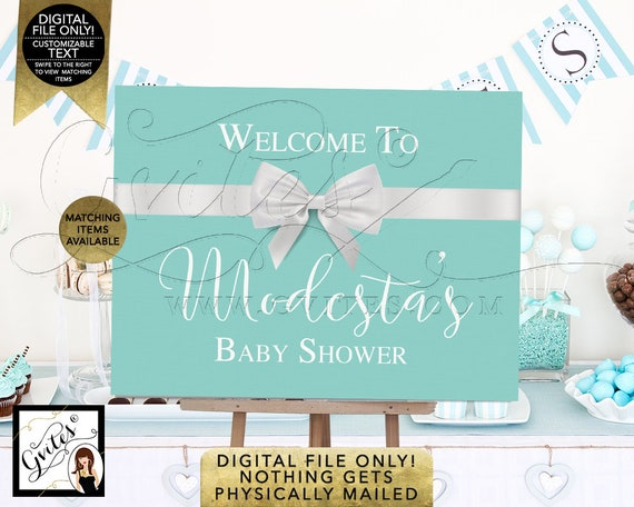 Welcome Baby Shower Sign | Baby and Co Decorations | Breakfast at Theme | Entrance Decor/ Centerpiece Dessert Table Backdrop. Digital File!
