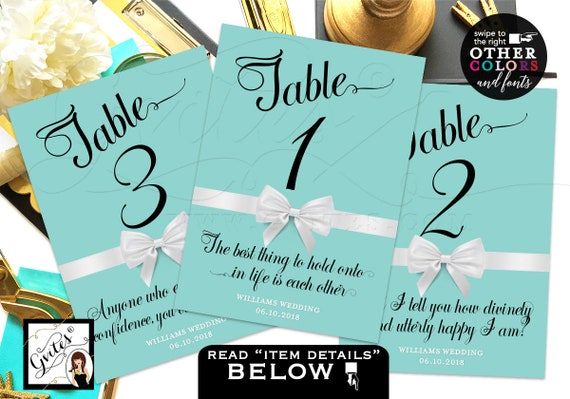Elegant Printable Blue Wedding Table Numbers Breakfast at themed shower