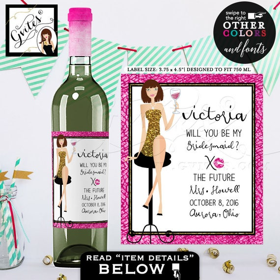 Bridesmaid wine labels / Pink & Gold Thank you Bridesmaid Wine Labels / Will you be my Bridesmaid? stickers bottle label / Bridal gifts