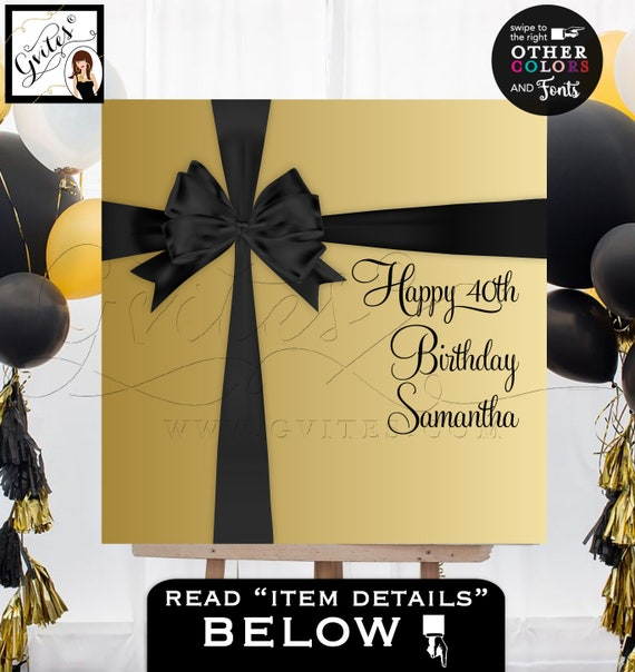 40th Birthday Entrance Welcome Poster / Black and Gold Printable Party Elegant Sign / Black Ribbon Bow Gold Glitter / INSTANT DOWNLOAD