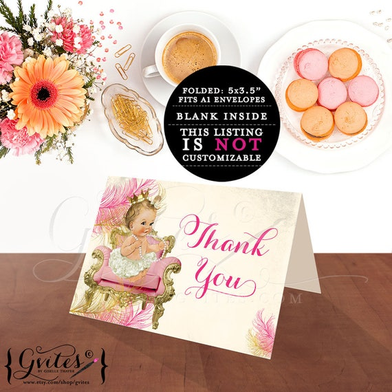 Pink Gold Thank You Baby Shower Cards | INSTANT Download {Light/ BLONDE} 2 Per/ Sheet