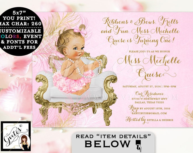 Pink and Gold First Birthday Invitation, vintage printable baby girl, white gold digital invites, 7x5, ribbons bows frills and fun. Gvites