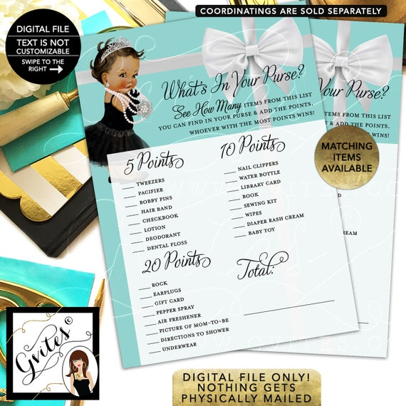 "What's in your purse baby shower game. Printable cards. 5x7"" 2 Per Sheet {INSTANT DOWNLOAD/ Baby: Med Brunette}"